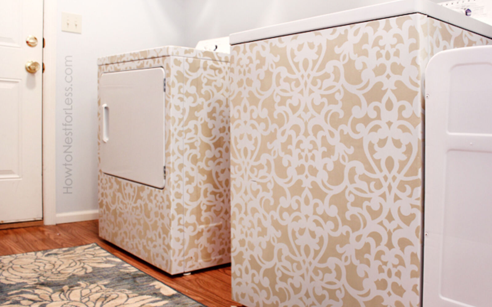 s 14 glamorous ways to upgrade your home using stencils, Give your old washer dryer a new life