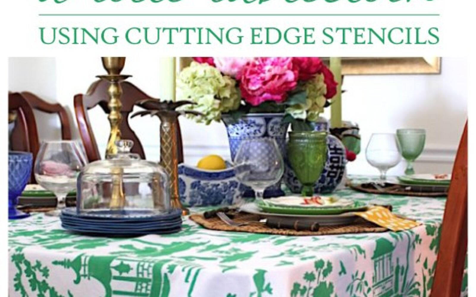 s 14 glamorous ways to upgrade your home using stencils, How To Make A Toile Tablecloth Using Stencils