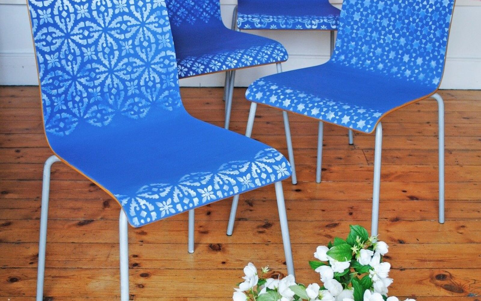 s 14 glamorous ways to upgrade your home using stencils, Try this Ombre Stenciled Chairs