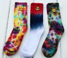 really cool tie dyed emoji socks