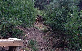 early fall garden opening vista carving pathways terracing slopes, Third pathway up and around oaks pines