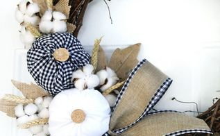 plaid fabric pumpkin wreath