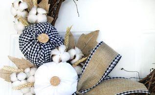 plaid fabric pumpkin wreath