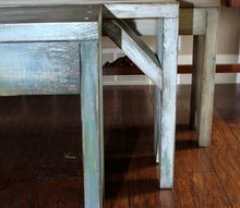 milk painted rustic benches