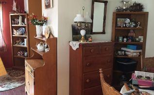 updated 80 s wooden corner shelves, BEFORE