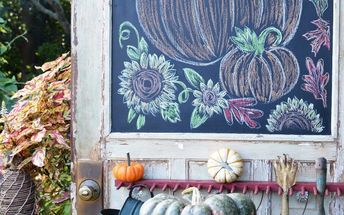 chalking it up to fall on a shed door