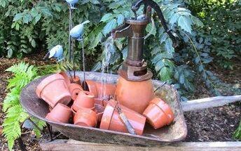 wheelbarrow water feature our fairfield home garden, Add garden accents