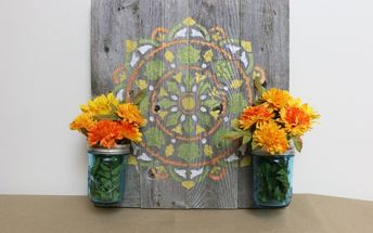 how to make rustic farmhouse wall decor using a stencil