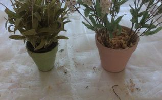 how to make an artificial lavender pot, Two pots I made