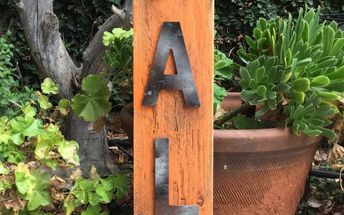 wooden faux metal letters, fall sign from the cluttered craft room
