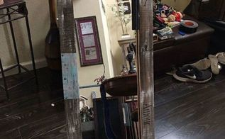 boring wardrobe mirror makeover with a soda can tacks fence wood, I love the way it looks now