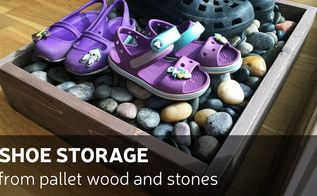 diy shoe storage from pallet wood and stones