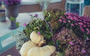 easy purple fall floral arrangement