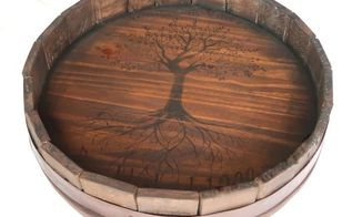 pottery barn inspired barrel top lazy susan diy