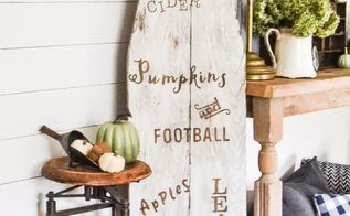 turn a vintage ironing board into a fall sign