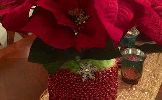 christmas vase beaded pickle jar