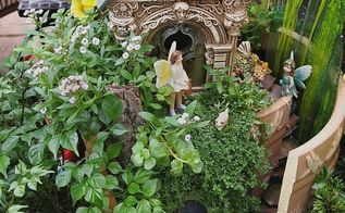 making a fairy garden out of a broken flower pot
