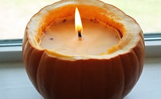 diy real pumpkin candle
