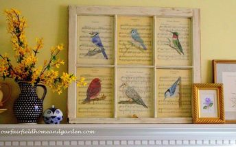 paint on vintage sheet music a tutorial, Use an old window to display your artwork