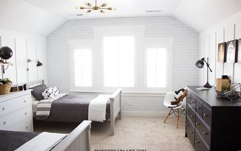 brick wallpaper and accent chalkboard wall