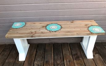 diy stenciled farmhouse bench