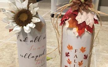 easy fall bottle decor, Fall Autumn bottles DIY