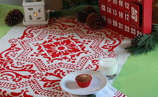 holiday stenciled table runner using drop cloth royal studio design, crafts, painting, seasonal holiday decor, Holiday table runners make great gifts too