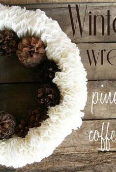 winter wreath pine cones and coffee filters, crafts, seasonal holiday decor, wreaths