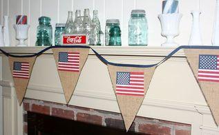 patriotic burlap and american flag banner, patriotic decor ideas, seasonal holiday d cor
