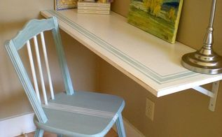 desk and chair with grain sack stripes, bedroom ideas, diy, home decor, painted furniture, AFTER