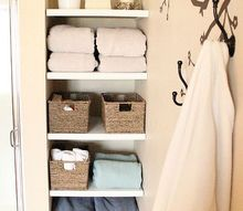 installing built in bathroom shelves, bathroom ideas, closet, diy, shelving ideas, storage ideas, woodworking projects, Pretty pretty storage