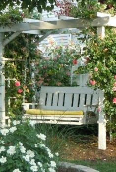 arbor swing my father made for me what a great birthday gift this was thanks dad, gardening, outdoor furniture, outdoor living, painted furniture