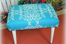 mid century modern foot stool makeover, painted furniture, Mid Century Mod Foot Stool After Makeover