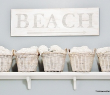 painted wood beach sign, bathroom ideas, home decor, Painted Wood Beach Sign