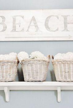 painted wood beach sign, bathroom ideas, home decor, Painted Wood Beach Sign