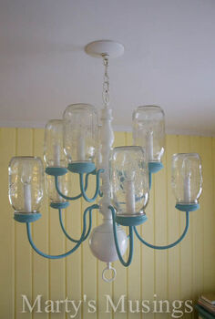 mason jar chandelier, chalk paint, diy, home decor, how to, lighting, mason jars, repurposing upcycling, The finished product Love the blue accents against the yellow wall color