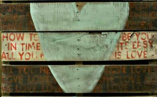 from pallet to art, crafts, pallet, Love All You Need is Love by the Beatles The lyrics are hand stamped in red across the white black striped slats If you can t find a pallet you can make one too