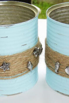 repurposed beachy tins, repurposing upcycling