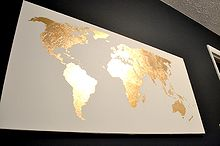 gilded map art, crafts, Gold Leaf Map Art