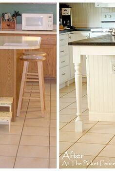 taking your kitchen island from dated to darling my kitchen island transformation, home decor, kitchen design, kitchen island, Before and After Lengthening the island added much needed space in front of the refrigerator and allowed for additional seating