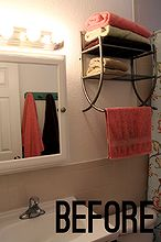 70 bathroom makeover, bathroom ideas, home decor, repurposing upcycling, shelving ideas, small bathroom ideas, A colorful array of towels and a busy shower curtain made this bathroom feel too cramped By painting the walls a neutral gray and adding plenty of white accents the room feels bigger and surprisingly brighter