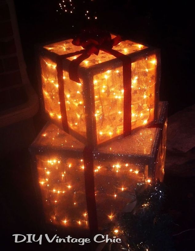 outdoor lighted christmas presents crafts seasonal holiday decor - Lighted Christmas Decorations