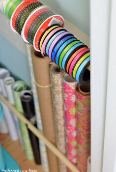 getting my craft closet organized part one small home big ideas, closet, craft rooms, organizing, Beside the bins I have room to store my rolls of gift wrap contact paper and ribbon