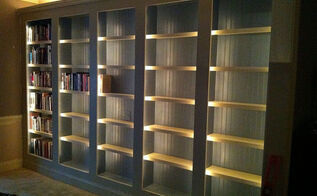 a new library, diy, paint colors, repurposing upcycling, shelving ideas, wall decor, woodworking projects, Interior and above cabinet rope lighting and color really help with making the shelves come to life