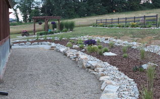 the basics of mulch what how where when and why to use, flowers, gardening, landscape, We used a combination of rock and pine bark much here to add contrast to the back wall landscape