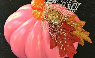 diy dollar store pumpkin makeover, crafts, halloween decorations, seasonal holiday decor, This pretty pink pumpkin started out looking quite different than this
