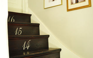 refinishing the stairs and adding numbers, foyer, painting, stairs