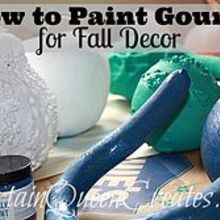 how to paint dried gourds for fall decor, chalk paint, painting, seasonal holiday decor, Paint gourds with non traditional Fall colors for a fresh updated look or for decorations throughout the year