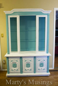 china hutch makeover with annie sloan paint, chalk paint, painted furniture, The finished piece although we still distress and paint some more here and there as we search for the exact look we want