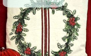 pottery barn inspired holly leaf pillow, crafts, painting, seasonal holiday decor